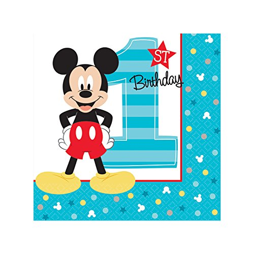 Mickey Mouse 1st birthday party supplies 48 pack beverage napkins by BirthdayExpress