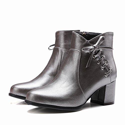 Latasa Kvinna Chunky Klackar Falla Fotled Hög Klänning Boots Ljusgrå