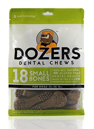 (Dozers Dental Dog Chews - 100% All Natural Ingredients - Gluten Free Dental Healthy Delicious Dog Treat - Promotes Fresh Breath, Small, 13.7 oz. - 18 Treats)