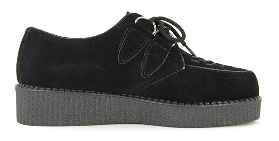 8e9f11048ae Mens Black Faux Suede Brothel Creepers Beetle Crusher Lace Up Vintage Retro  Punk Shoes Size  Amazon.co.uk  Shoes   Bags