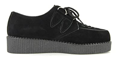 5f51428e91bd Mens Black Faux Suede Brothel Creepers Beetle Crusher Lace Up Vintage Retro  Punk Shoes Size