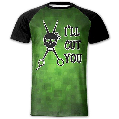 Stylish Printed Raglan T-Shirt Meme I'll Cut You Short Sleeve T-Shirts Gym Shirts For Mens XX-Large