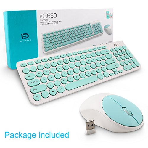 Wireless Keyboard and Mouse Combo, FD iK6630 2.4GHz Cordless Cute Round Key Set Smart Power-Saving Whisper-Quiet Slim Combo for Laptop, Computer,TV and Mac (Mint Green & White) by FD (Image #7)