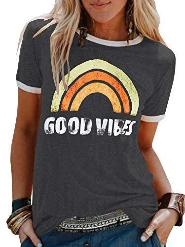Umeko Womens Good Vibes Graphic Tees Letter Printed Casual Loose Summer T-Shirt (Medium, -