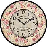 Cheap Buggy Round Decorative Wall Clock-Shabby Chic Floral Patchwork Clock – Vintage Wall Clocks for Living Room, Bedroom and Kitchen – Multi-Coloured Cute Retro Style Clock Wall 10inches 23CM
