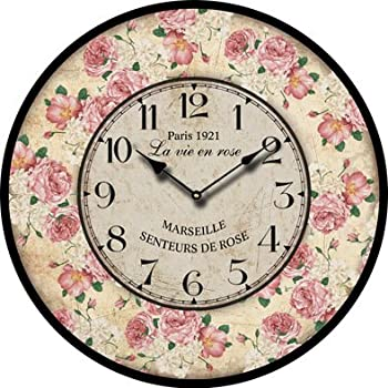 Buggy Round Decorative Wall Clock Shabby Chic Floral Patchwork Clock   Vintage  Wall Clocks For Living Room, Bedroom And Kitchen   Multi Coloured Cute Retro  ...