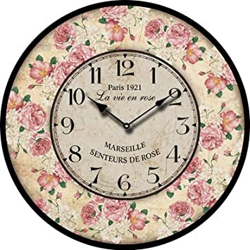 Buggy Round Decorative Wall Clock-Shabby Chic Floral Patchwork Clock – Vintage Wall Clocks for Living Room, Bedroom and Kitchen – Multi-Coloured Cute Retro Style Clock Wall 10inches 23CM