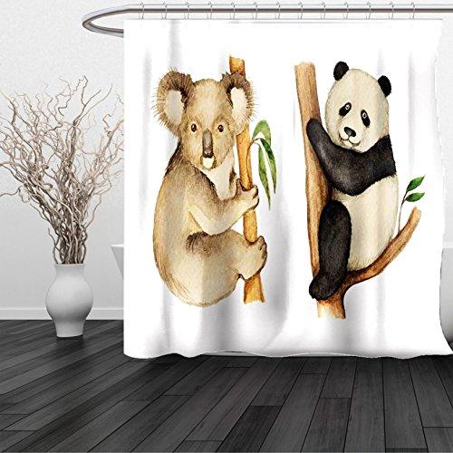 HAIXIA Shower Curtain Panda Koala and Panda Sitting on Trees Wild Life Tropics Habitat Woodland Illustration Queen Full Beige Black