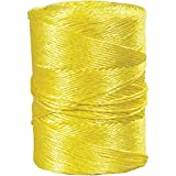 Boxes Fast Twisted Polypropylene Rope, 3/16, 650 lb, Yellow, (1 Roll of 600')
