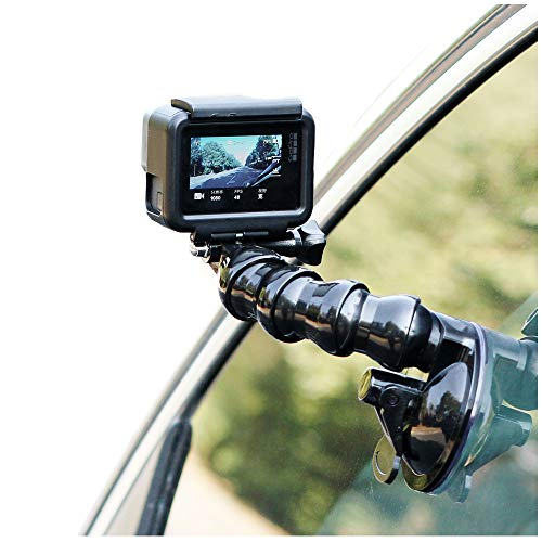 SUREWO Swivel Arm Car Suction Cup Mount Holder with Phone Holder Compatible with GoPro Hero 7 6 5 Black