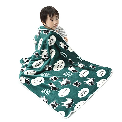 Alcea Rosea Coral Fleece,Animal theme, Gift style, Cartoon,Newborn,Baby Blanket 40''x 29'' (Green Bulldog)