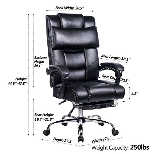 VANBOW Reclining Office Chair - High Back Bonded Leather Executive Chair with Retractable Footrest, Removable Pillow, Adjustable Angle Recline Lock System, Ergonomic Design, Black by VANBOW (Image #4)