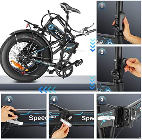 Speedrid Folding Ebike Fat Tire Electric Bike 20″ 4.0, 500W Powerful Motor, 36V 12.5Ah Removable Battery and Professional 6 Speed