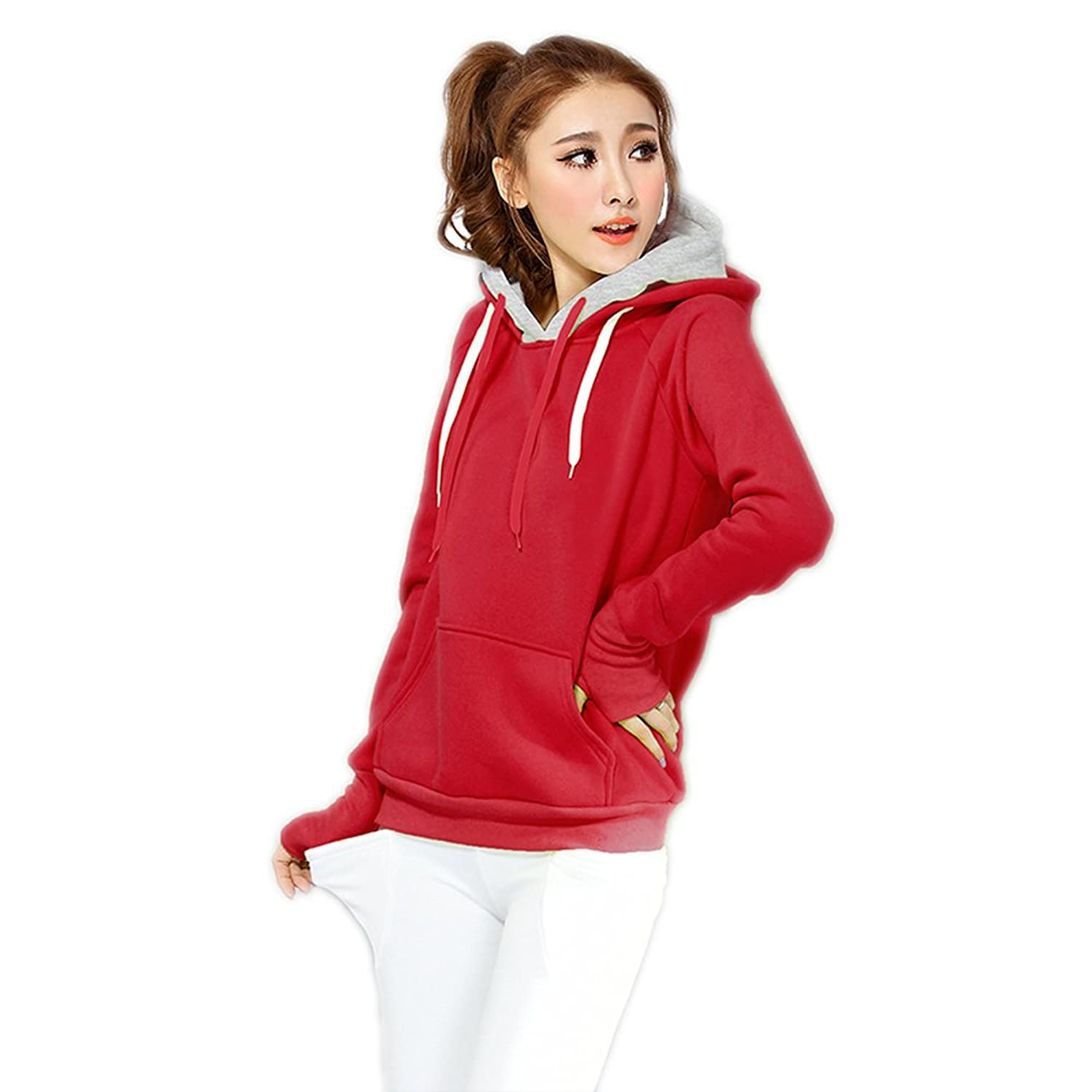 fbf086c05 VOGUE CODE Girls  Autumn winter Hoodie Casual Solid Color ...