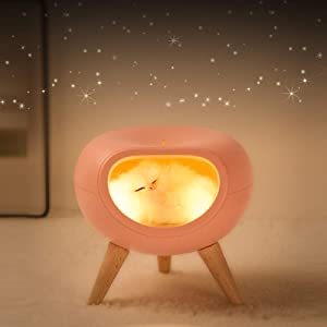 WoneNice Sweet Kitty Lamp, Cute Bedside Nightlight, Built in Touch Dimmer, Birthday Christmas Gift for Any Age Cat-Lover (Pink)