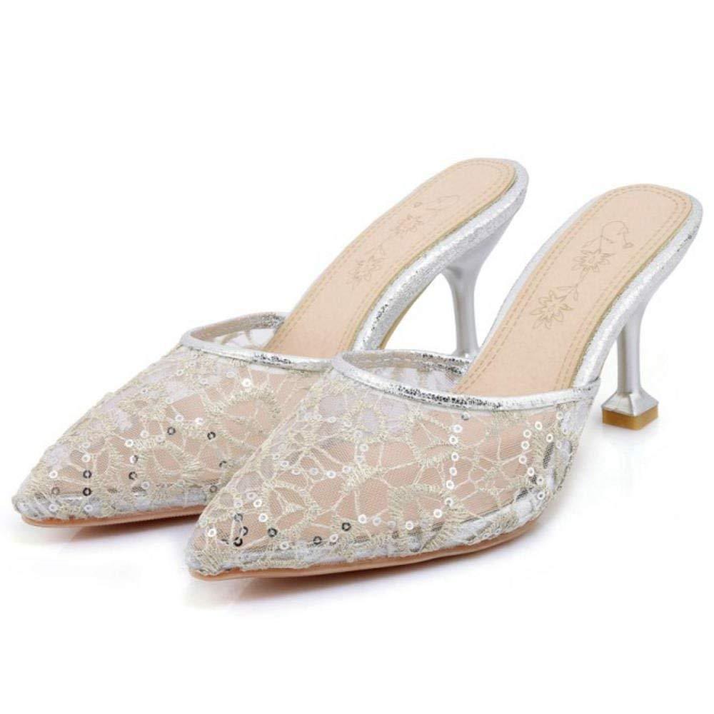 ZHRUI Frauen Frauen Frauen geschlossene Zehe Mules Schuhe Heels eff182