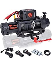 TYT 12000 lb. Advanced Load Capacity Electric Winch T1 Series, 12V Synthetic Rope Electric Truck Winch with Hawse Fairlead, Waterproof IP67 Winch with Wireless Remotes and Wired Handle(12000 lb Winch-Synthetic Rope Winch)