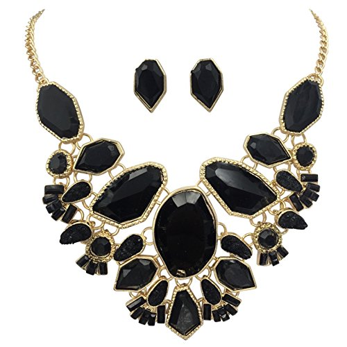 Gypsy Jewels Abstract Bib Statement Boutique Gold Tone Necklace & Earrings Set - Assorted Colors (Black)