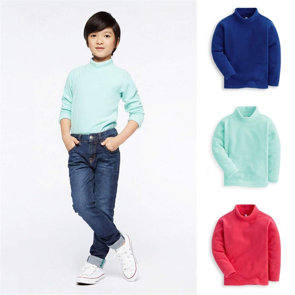 UWESPRING Boy Girl Trendy Turtleneck Fleece Sweatshirts Pullover 4T White