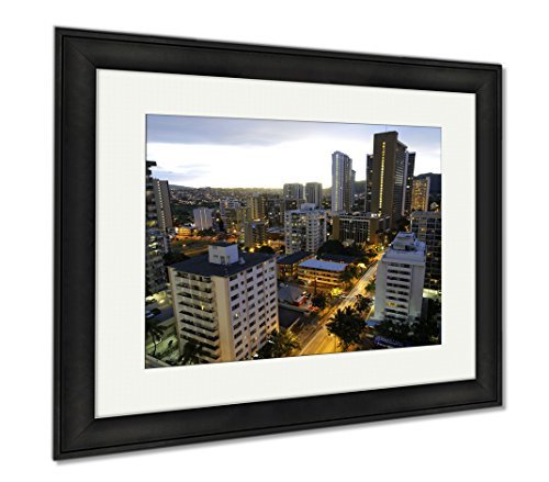 Ashley Framed Prints Stock Photo Of Highrise Buildings In Waikiki Shot In The Morning During Sunrise, Modern Room Accent Piece, Color, 34x40 (frame size), Black Frame, AG6409711 by Ashley Framed Prints