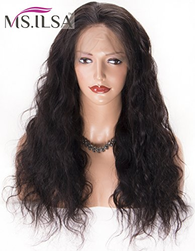 MS.ILSA 360 Frontal Wig with 150 Heavy Density, Pre Plucked 360 Lace Frontal Wigs with Baby Hair Body Wave Brazilian Human Hair Wigs for Black Women 22 inch Natural Color by MS.ILSA