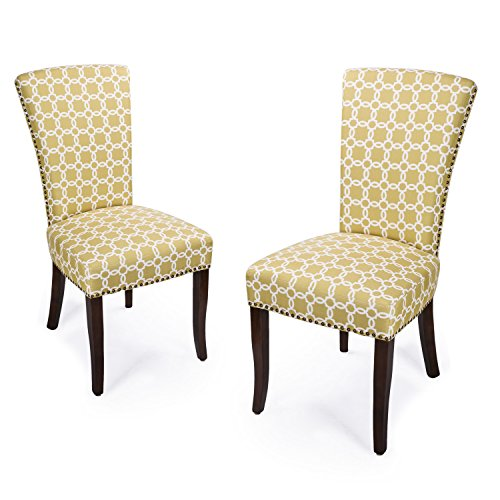 Adeco Floral Living Dining Chair Birch Legs, Set Two, Green Color