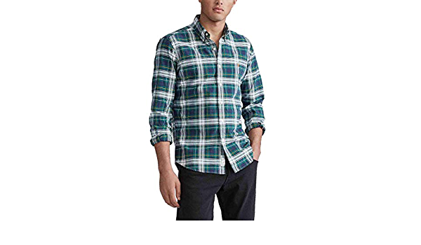 Camisa Ralph Lauren Oxford Custom Fit Cuadros Verde Hombre M ...