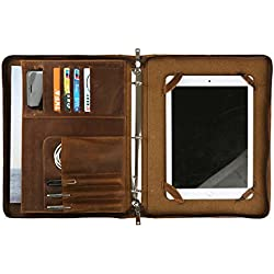 Vintage Business Portfolio Organizer Crazy-Horse Leather with Zippered 3 Ring Binder Padfolio Case for Letter-Size / A4 Notepad and Documents (iPad Pro 12.9 inch)