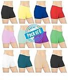 Sexy Basics Womens 6 Pack Cotton Spandex Sheer Mini Bike Yoga Boyshort Boxer Brief(Size:L/7) offers