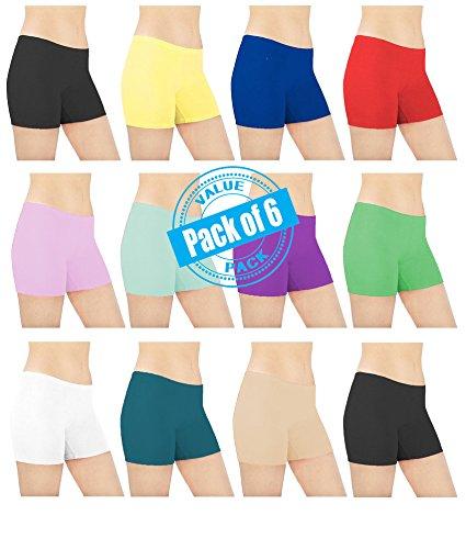 Sexy-Basics-Womens-6-Pack-Cotton-Spandex-Sheer-Mini-Bike-Yoga-Boyshort-Boxer-Brief