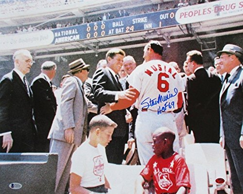 Stan Musial Autographed St. Louis Cardinals 16x20 Photo with JFK HOF 69 BAS+Musial COA (Stan Merchandise Musial)