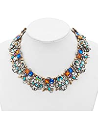 Vintage Crystal Rhinestone Colorful Collar Bib Chunky Statement Necklace for Women Girls Lady