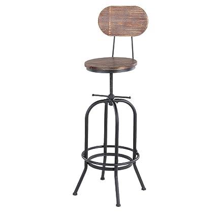 Metal Kitchen Dining Chair Bar Stools Ikayaa Height Adjustable Swivel Bar Stool Industrial Style Natural Pinewood Top