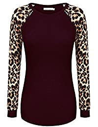 Meaneor Women's Long Sleeve Leopard Print Casual Slim Fit Tunic T shirts Top