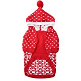 Cheap SCENEREAL Dog Sweater with Hat Christmas Winter Knitwear Hoodie Xmas Clothes Classic Warm Coats for Cold Days, Red L