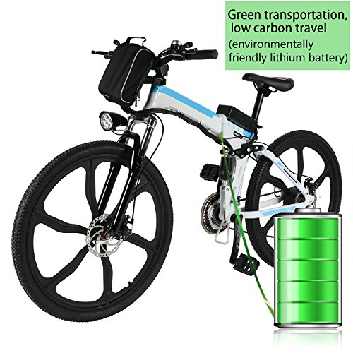 Cosway Folding Electric Mountain Bike with Lithium-Ion Battery, Premium Full Suspension and Shimano Gear, US Stock