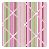 Sweet Jojo Designs Pink and Green Jungle Friends Stripe Fabric Memory/Memo Photo Bulletin Board