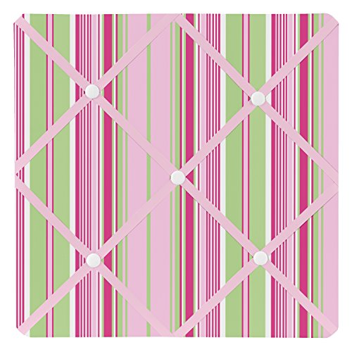Sweet Jojo Designs Pink and Green Jungle Friends Stripe Fabric Memory/Memo Photo Bulletin Board by Sweet Jojo Designs