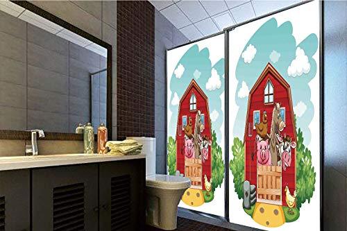 3D Privacy Window Film No Glue,Cartoon,Happy Farm Animals Living in Barnhouse Chicken Pig Horse Domestic Rural Artistic,Green Red,47.24
