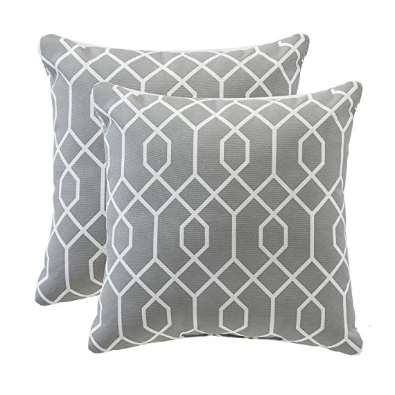 """TINA'S HOME 16"""" Grey Outdoor Pillows/Waterproof Geometric Throw Pillow for Patio Bench Swing Couch Decor(Set of 2) - ♥Product Includes: two (2) outdoor pillows, resists weather and fading in sunlight; Suitable for indoor and outdoor use ♥Plush Fill: 100-percent down alternative filling, offers extra back support and holds in shape ♥Easy Care - lightly spot clean or hand wash outdoor pillow fabric with mild detergent and cool water; then let air dry - patio, outdoor-throw-pillows, outdoor-decor - 514qnIOdRlL. SS570  -"""