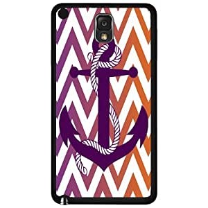 Burgundy Anchor on Colorful Chevron Gradient Background Hard Snap on Phone Case (Note 3 III)