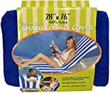 Ashford Textiles Cabana Style Chaise Lounge Cover with Pocket (Solid Blue)