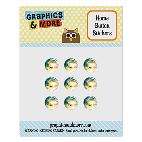 - Set of 9 Puffy Bubble Home Button Stickers Fit Apple iPod Touch, iPad Air Mini, iPhone 4/4s 5/5c/5s 6/6s Plus - Beach Tropical - Ocean Wave Sea Sunset