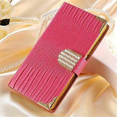 Casos hermosos, cubiertas, Cristal de tarjeta de bolsillo de lujo bling del caso de la cubierta del teléfono del rhinestone caja de cuero de la PU para la galaxia S3 ( Color : Rojo , Modelos Compatibl Rosado