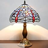 Tiffany style table lamp light S053 series 18 inch tall dark blue dragonfly shade E26