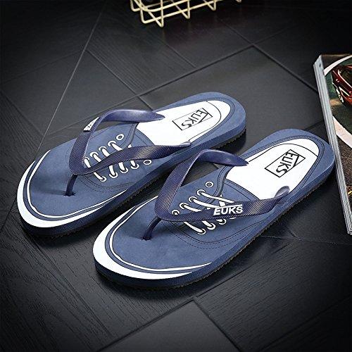 Xing Lin Sandalias De Hombre Flip-Flops Hombres La Tendencia De Sandalias De Playa Y Zapatillas Impermeables Verano Baño Antideslizante Zapatillas Marea Azul Oscuro 44