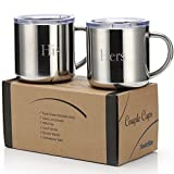 MadeRite Premium 304 Stainless Steel Couple Cups Coffee Mug Set 14 ounce (His Hers)
