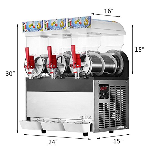 Happybuy 110V Commercial Slushy Machine 500W Stainless Steel Margarita Smoothie Frozen Drink Maker Suitable Perfect for Ice Juice Tea Coffee Making 15L x 3 Tank Sliver by Happybuy (Image #1)