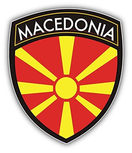 Macedonia Flag Shield Vinyl Decal Bumper Sticker 4'' X 5''