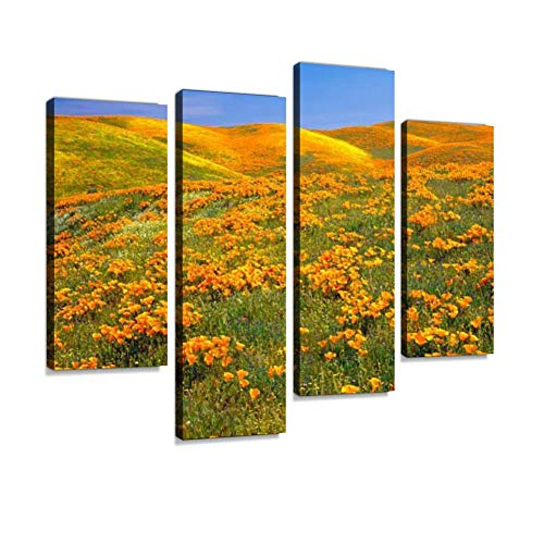 - California Golden Poppies Canvas Wall Art Hanging Paintings Modern Artwork Abstract Picture Prints Home Decoration Gift Unique Designed Framed 4 Panel